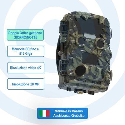 Fototrappola Professionale doppia ottica SNT-129E Risoluzione Video 4K